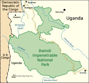 boundaries - Map of Bwindi Impenetrable National Park